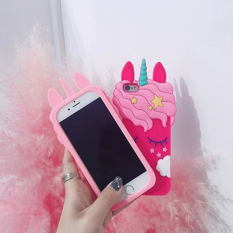 Cute Dreamy 3D Pink Unicorn Soft Silicone Airbag Protective Grip Desig - AshleySale
