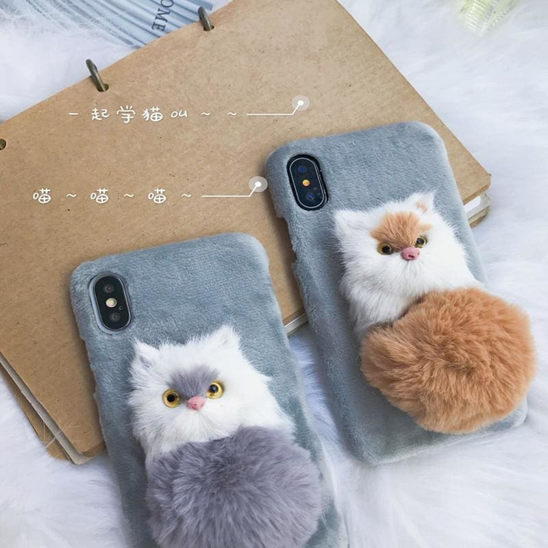 Cute Fluffy 3D Plush Cat Furry Ball Protective Airbag Designer iPhone - AshleySale