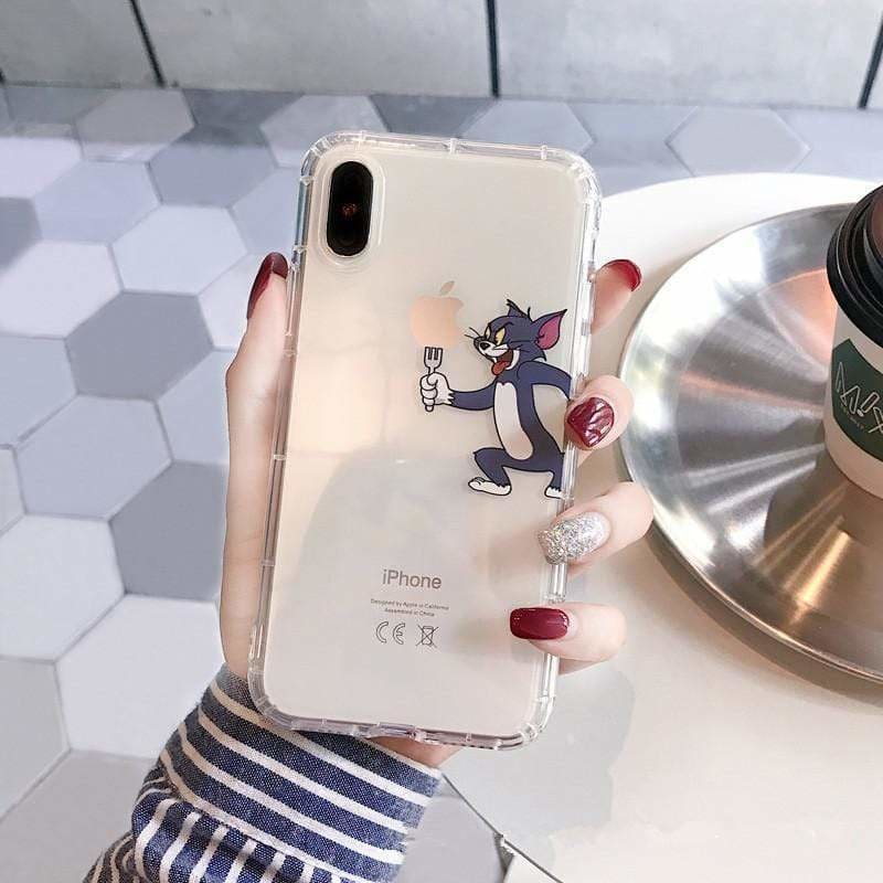 Cute Funny Tom Jerry Apple Transparent Clear Ultra Slim iPhone Case - AshleySale