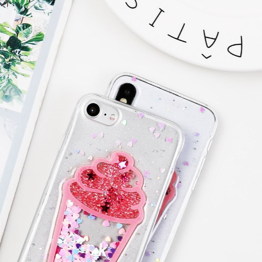 Cute Ice Cream Glitter Quicksand Transparent Protective iPhone Case Fo - AshleySale