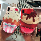 Cute Ice Cream Leather Zipper Wallet Coin Bag Silicone iPhone Case - AshleySale