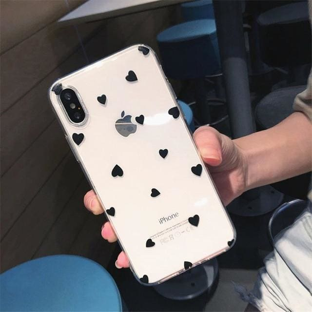 Cute Polka Dots Hearts Glossy Transparent iPhone Case - AshleySale