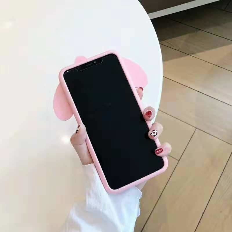 Cute Silicone Pink Melody Pudding Dog Ear Soft Silicone iPhone Case - AshleySale