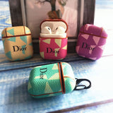 Dior Style Geometric Leather Protective AirPods 1 & 2 Case - AshleySale