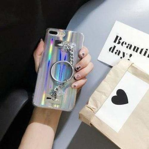 Edgy Laser Effect Silicone Diamond Silver Chain Bracelet iPhone Case - AshleySale