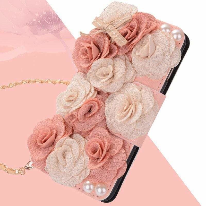 Elegant Luxury Rose Flower Wallet Purse Silicone Designer iPhone Case - AshleySale