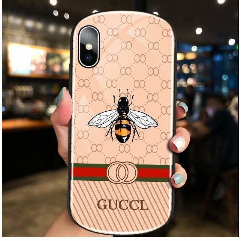 FASHION GUCCI STYLE BEE TEMPERED GLASS DESIGNER IPHONE CASE