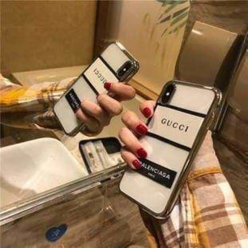 FASHION GUCCI STYLE EMBROIDERY PLATING EDGE DESIGNER IPHONE