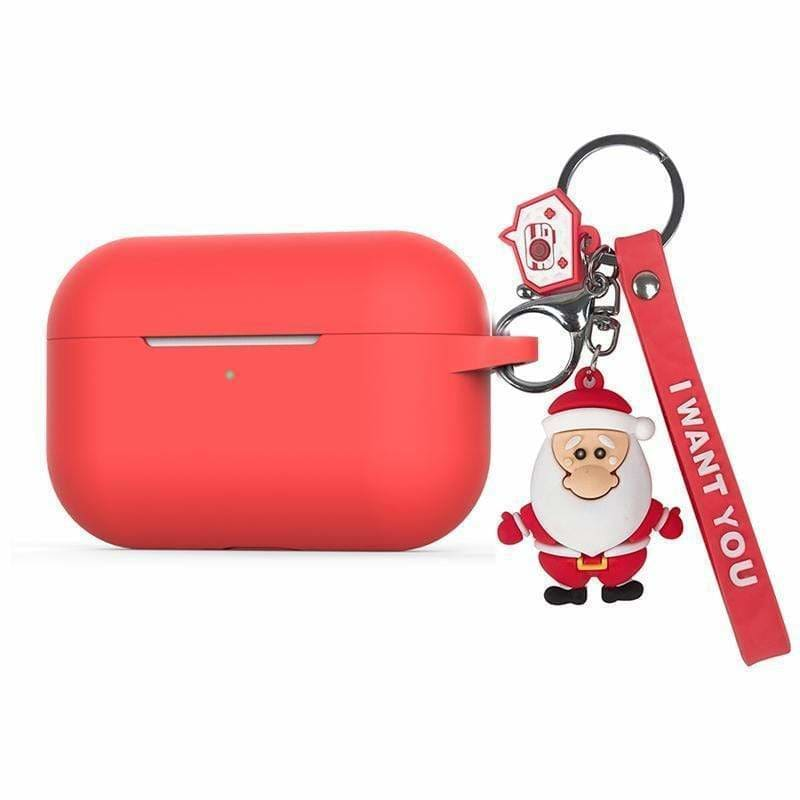 For AirPods Pro Case luxury with cartoon Christmas Keychain silicon Protection Cover For AirPods 3 Case Bluetooth Earphone Case - AshleySale