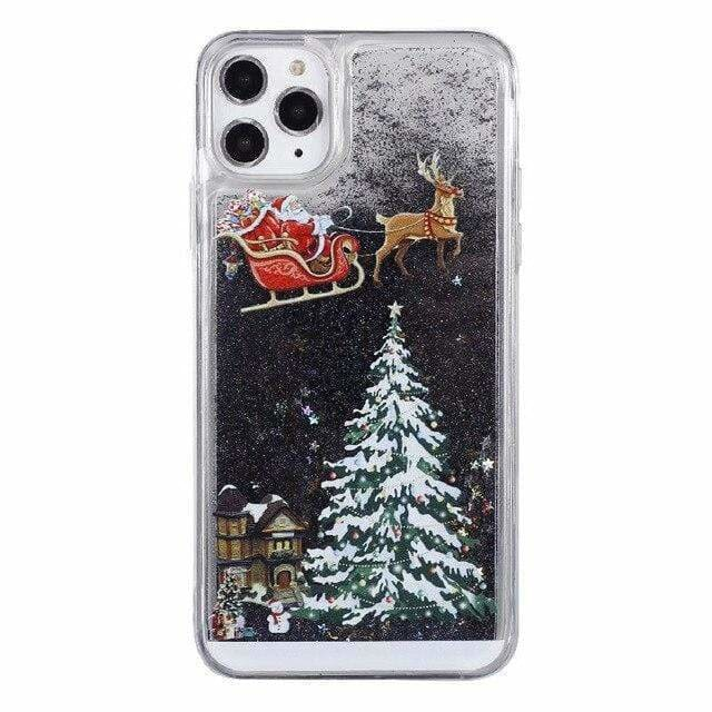 For iPhone 11 Pro Max Christmas Phone Case for iPhone 11 Pro Quicksand Case for iPhone 11 Santa Claus Hat Tree Print Sofe Case - AshleySale