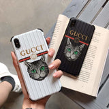 Gucci Style Cat Luggage Shockproof Designer iPhone Case For iPhone X XS XS Max XR 7 8 Plus - AshleySale