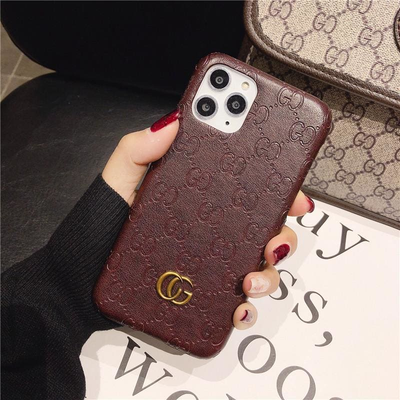 Gucci Style Genuine Leather Protective Designer Iphone Case For Iphone 12 Pro Max Mini - AshleySale