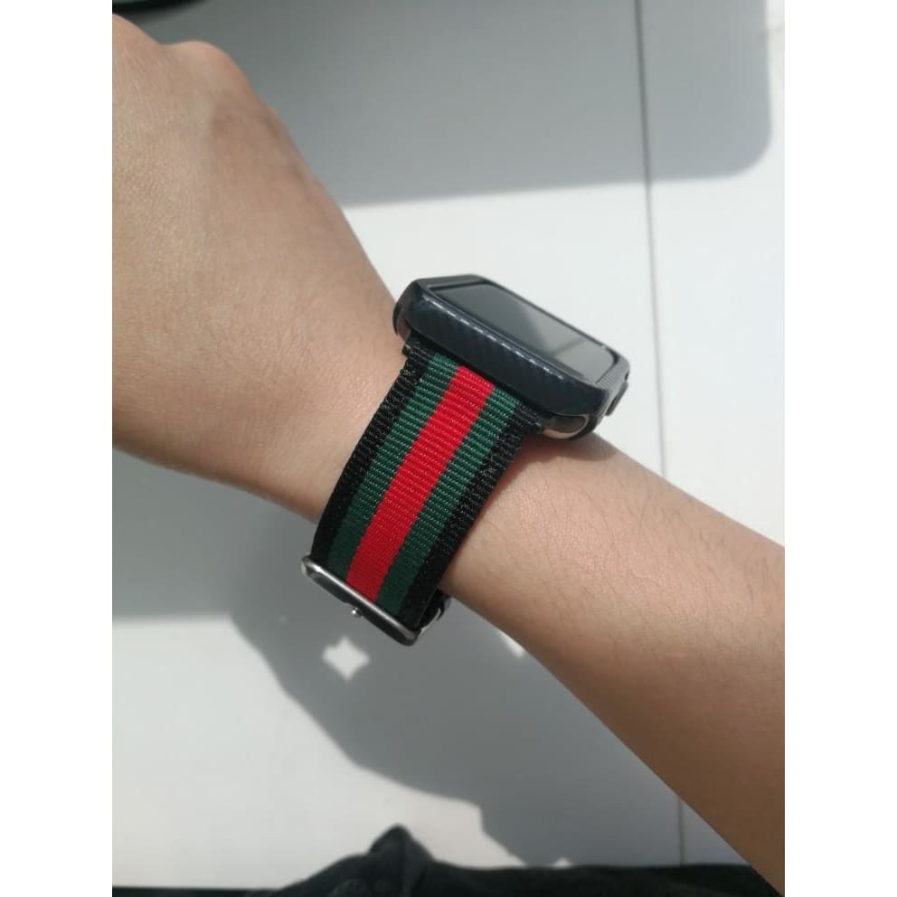 Gucci Style Modern Nylon Leather Hybrid Apple Watch Band Strap - AshleySale