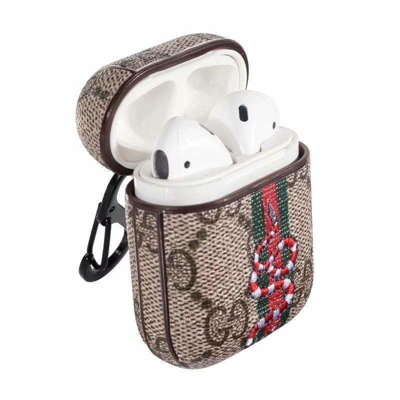 Gucci Style Snake Leather Protective AirPods 1 & 2 Case - AshleySale