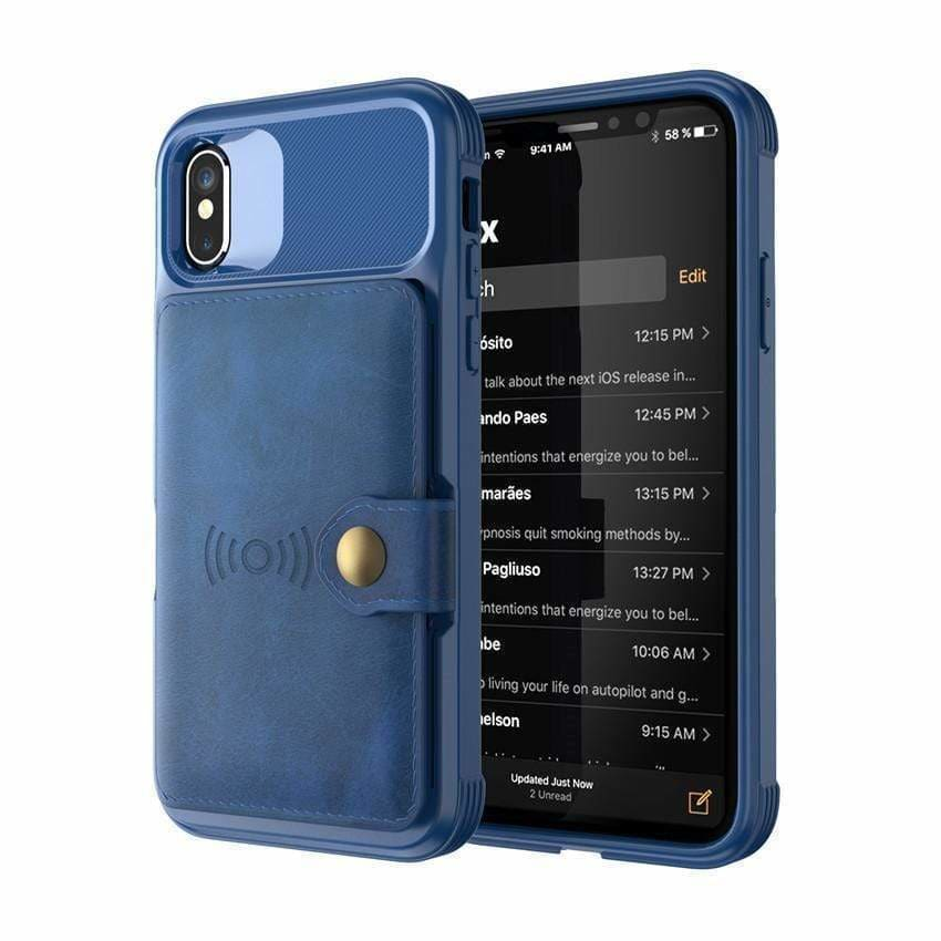 Hybrid Card Holder and Wallet Leather Bumper Case for for Iphone Xs Ma - AshleySale