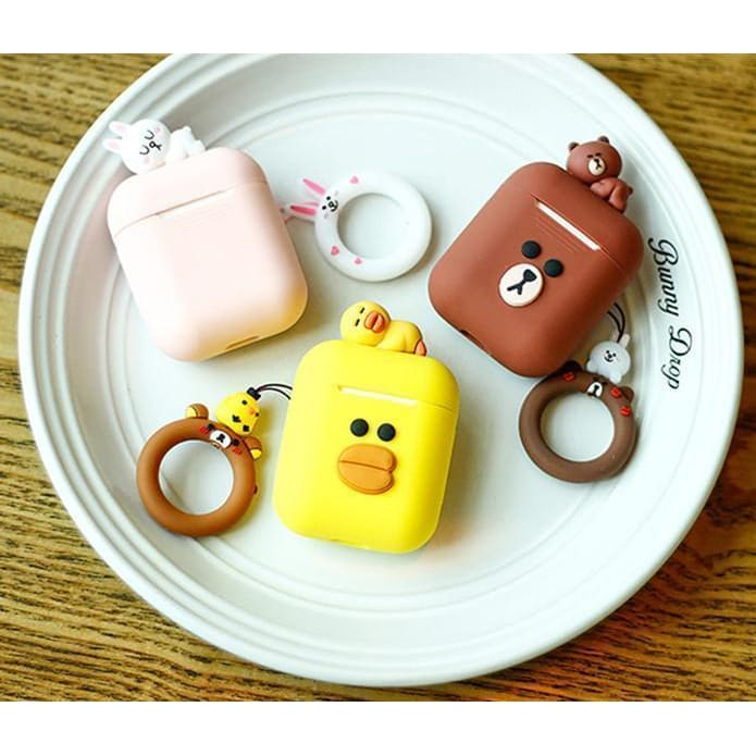 LINE FRIENDS Cute AirPods Silicone TPU Protective Case AirPods 1 2 - AshleySale