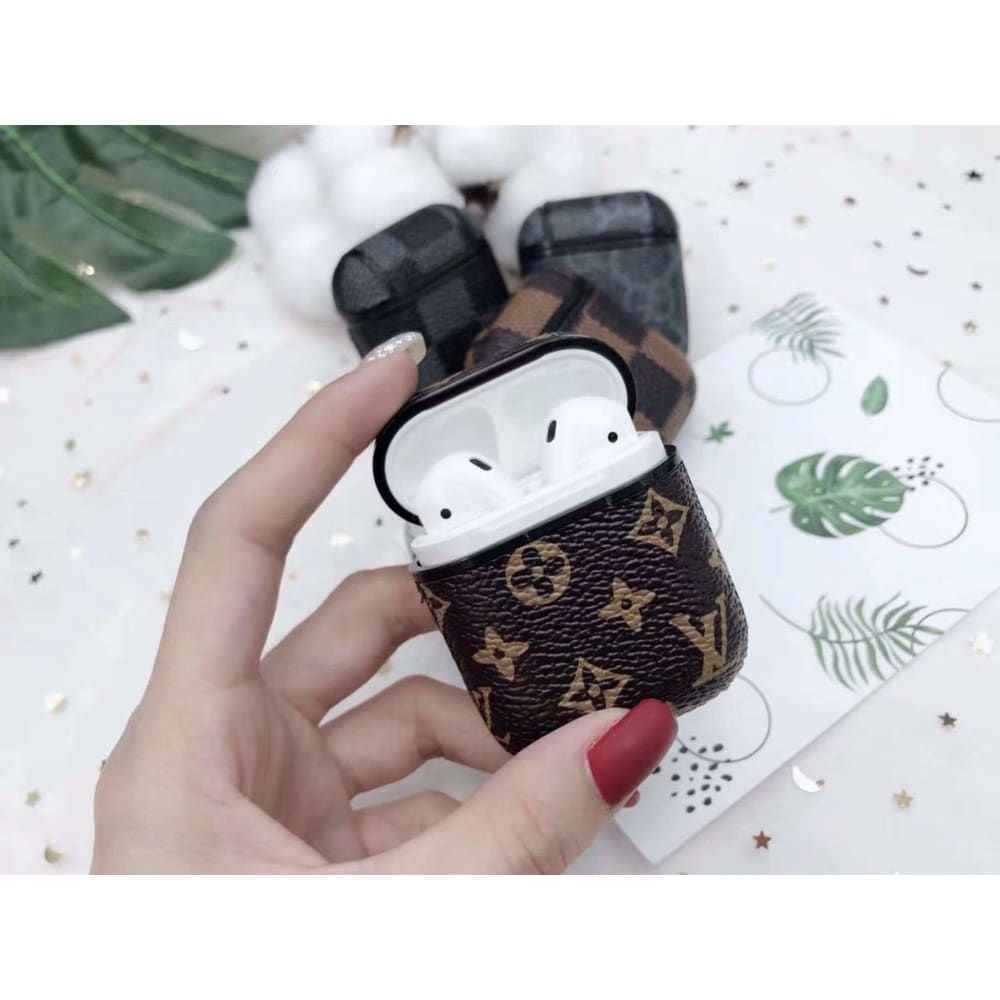 Louis Vuitton Style AirPods Monogram Leather Case AirPods 1 2 - AshleySale