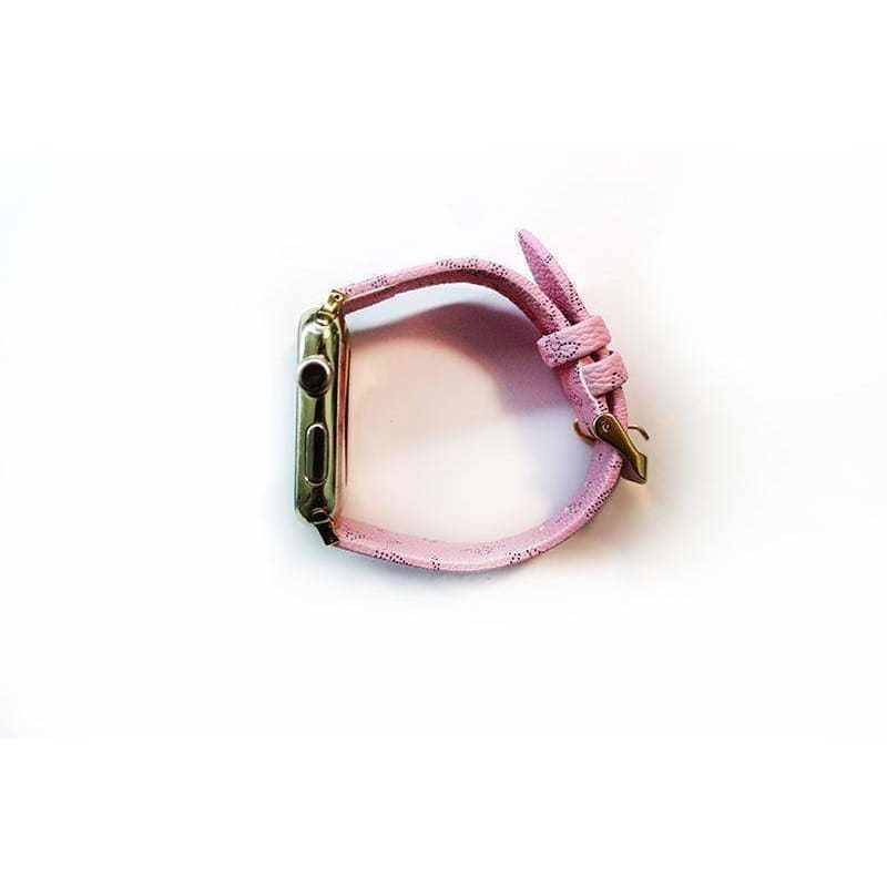 Louis Vuitton Style Classic Pink Leather Apple Watch Band Strap - AshleySale