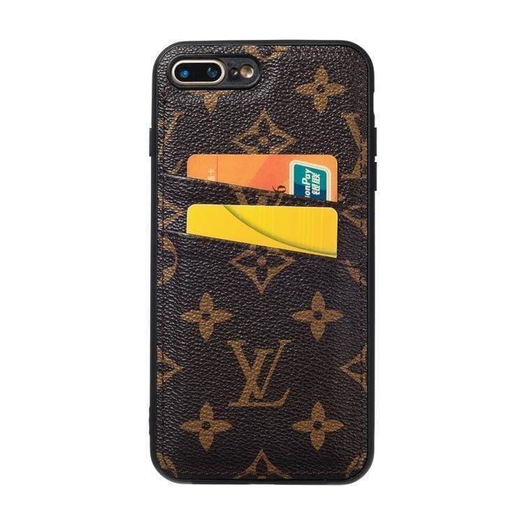 Louis Vuitton Style Leather Monogram Cardholder Designer iPhone Case For iPhone X XS XS Max XR 7 8 Plus - AshleySale
