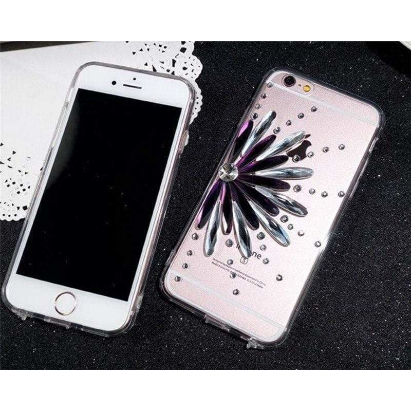 Luxury Bling Crystal Diamond Flower Soft Silicone Clear iPhone Case - AshleySale