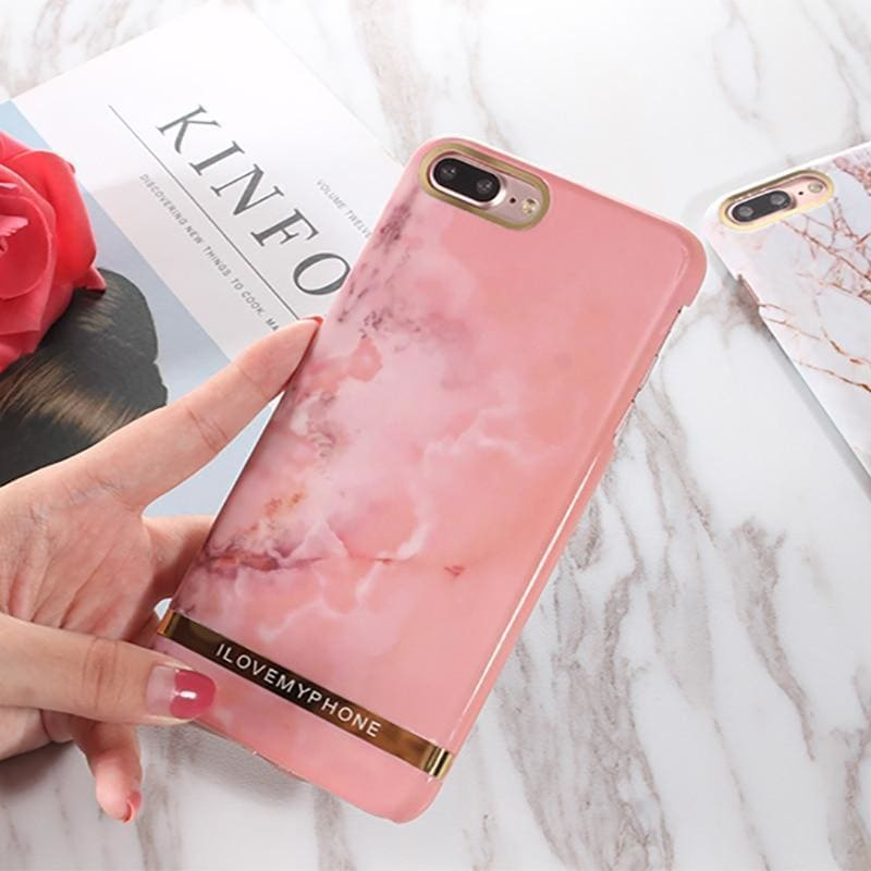 Luxury Classic Glossy Marble Golden Soft Silicone Designer iPhone Case - AshleySale