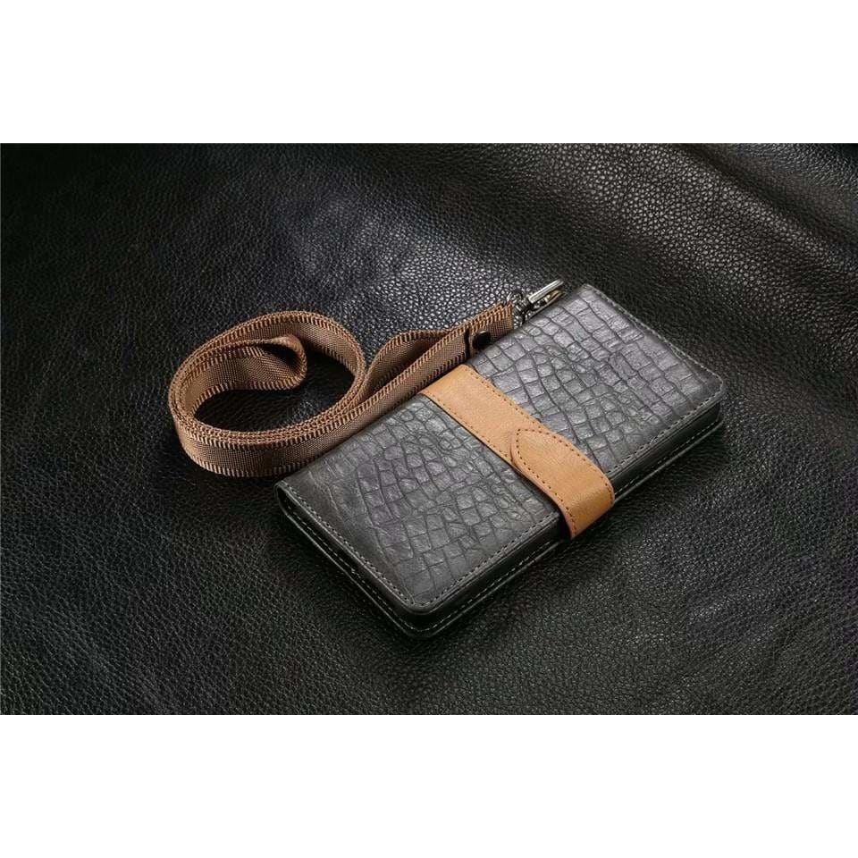 Luxury Crocodile Leather Wallet Card Holder Kickstand iPhone Case - AshleySale