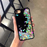 Luxury Edgy Cute Heart Glitter Dark Shiny Bling Quicksand iPhone Case - AshleySale