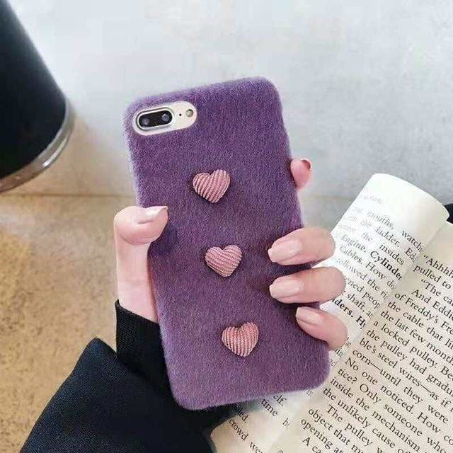 Luxury Fashion 3D Hearts Warm Winter Plush Fur Silicone iPhone Case - AshleySale