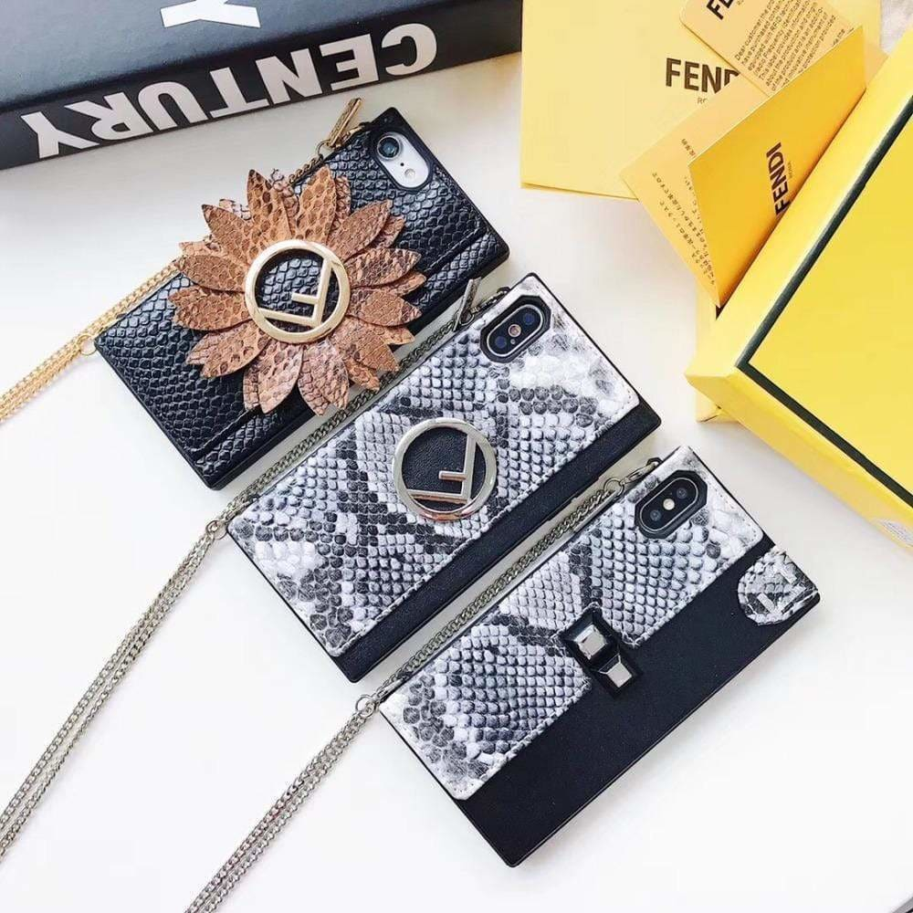 Luxury Fendi Style Leather Classic Logo Designer iPhone Case Lanyard - AshleySale