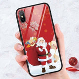Luxury Girls Tempered Glass Case For iPhone 8 7 6 6S Plus 9 10 Cartoon Christmas Back Cover For iPhone 11 Pro XS Max X XR Fundas - AshleySale