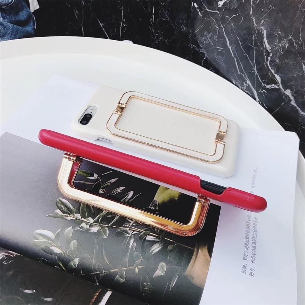 Luxury Gold Hand Finger Holder Bracelet Kickstand Leather iPhone Case - AshleySale