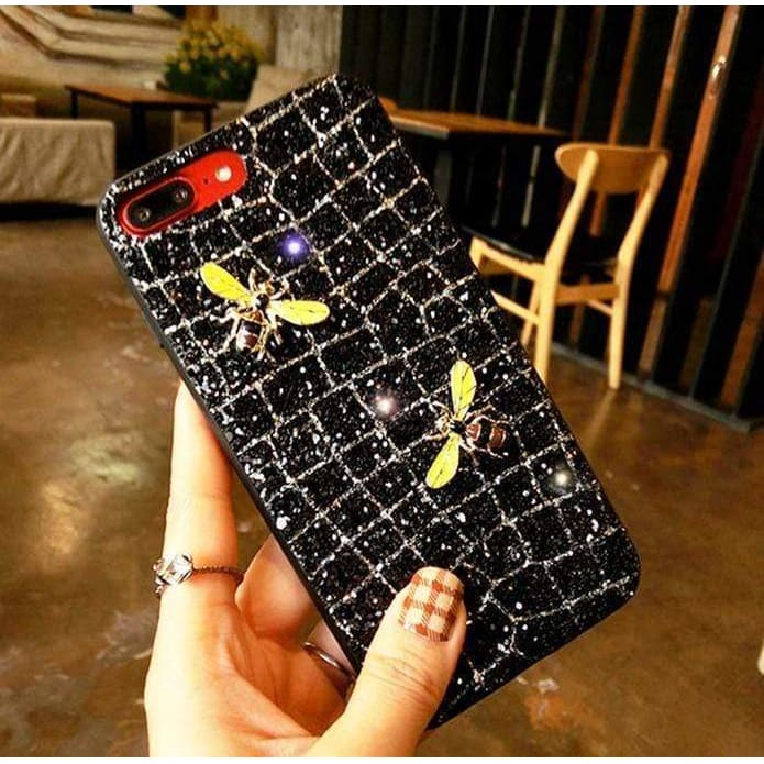 Luxury Gucci Bee Glitter Silicone Leather Protective iPhone Case For i - AshleySale