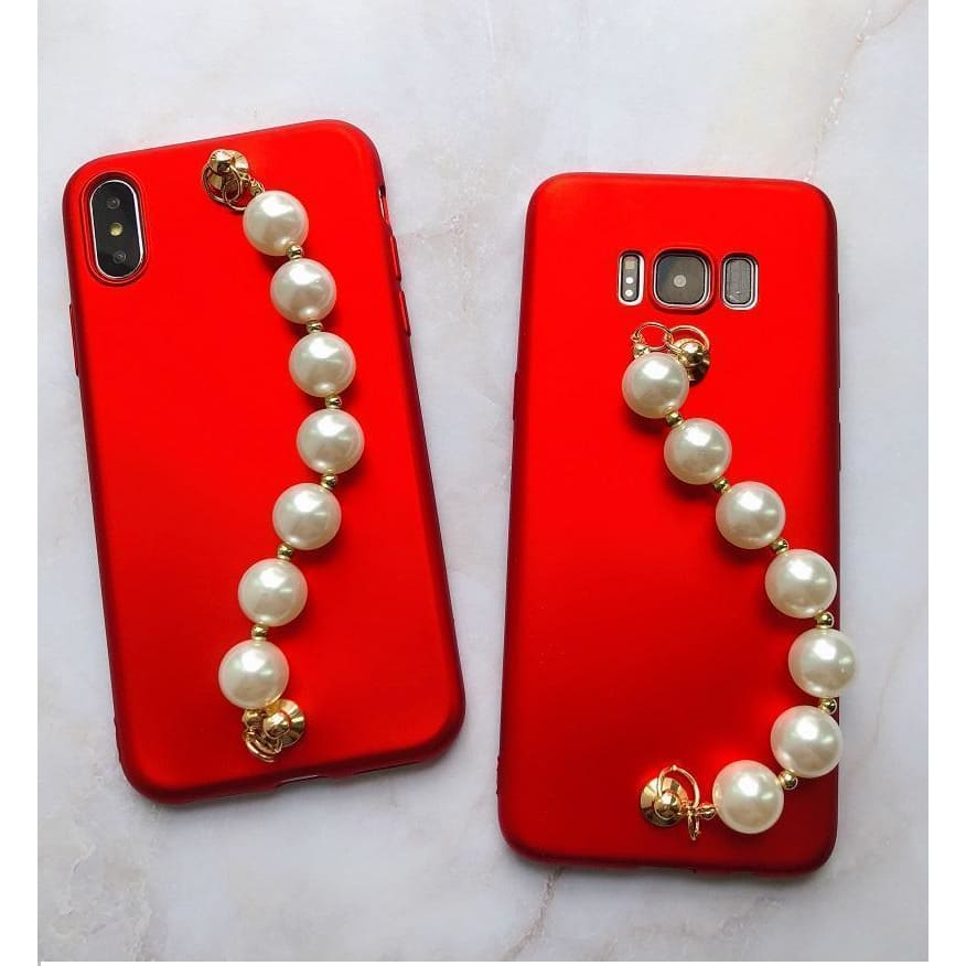 Luxury Pearl Hand Strap Carbon Fiber Ultra Thin Designer iPhone Case - AshleySale