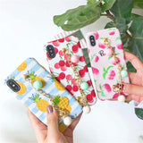 Luxury Pineapple Cherry Peach Glossy Silicone Designer iPhone Case - AshleySale