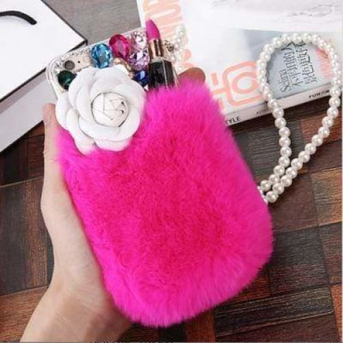 Luxury Rabbit Fur Leather Rose Designer iPhone Case Pearl Lanyard - AshleySale