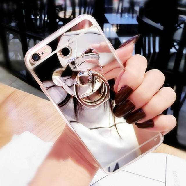 Luxury Teddy Bear Mirror iPhone Case With Kickstand Ring Holder - AshleySale