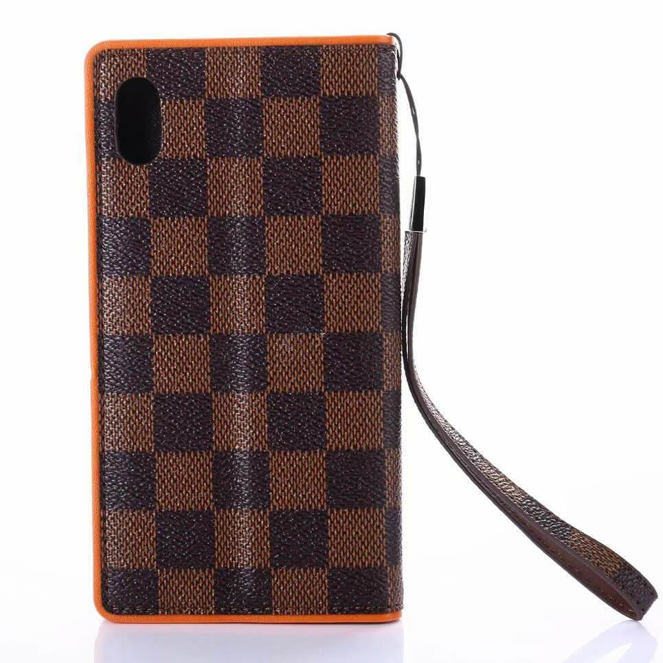 LV iPhone case Brown 11 Pro Xs Max Xr 8 Plus Lattice Leather Wallet - AshleySale