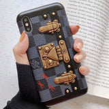 LV IPHONE CASE BROWN 12 PRO MAX MINI LOCK BRACKET BACK -
