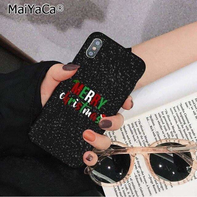 MaiYaCa Marry Christmas Black TPU Soft Phone Case Cover for Apple iPhone 11 pro 8 7 6 6S Plus X XS MAX 5 5S SE XR Cases - AshleySale