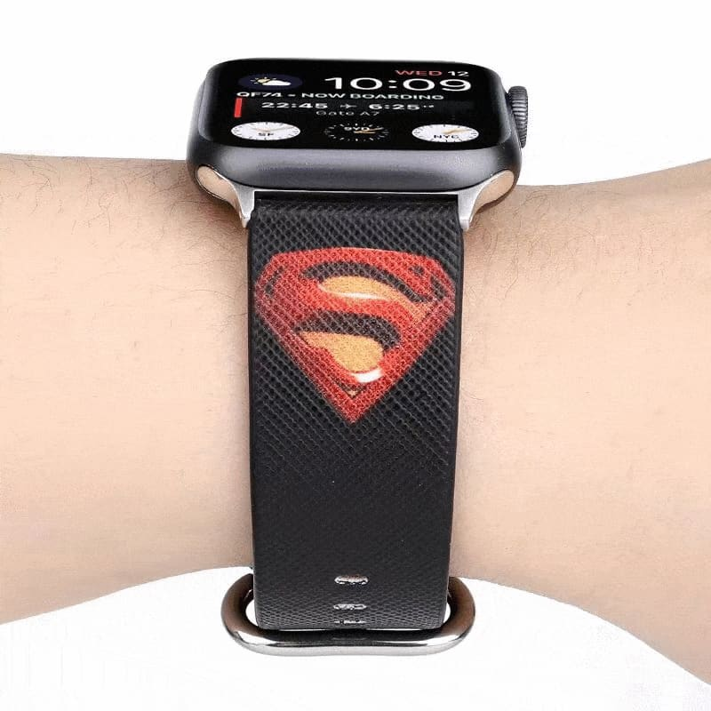 Marvel Style Superman Ironman Batman Leather Apple Watch Band Strap - AshleySale