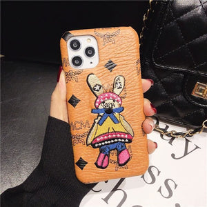 mcm Style Genuine Leather  Protective Designer Iphone Case For Iphone 12 Pro Max Mini - AshleySale