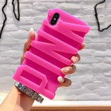 Modern Edgy 3D Sculpted PINK Cute Soft Silicone Airbag Designer iPhone - AshleySale