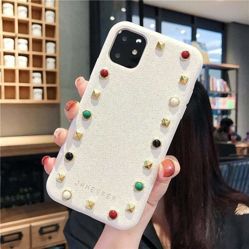 MODERN GEOMETRIC STUDS LEATHER DESIGNER IPHONE CASE FOR