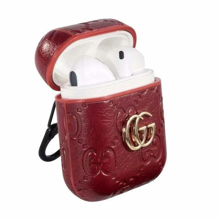 MORE COLORS Gucci Style Shimmer Logo Leather AirPods 1 & 2 Case - AshleySale