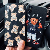 Moschino Style Cute Bear Matte Leather Luxury Designer iPhone Case - AshleySale