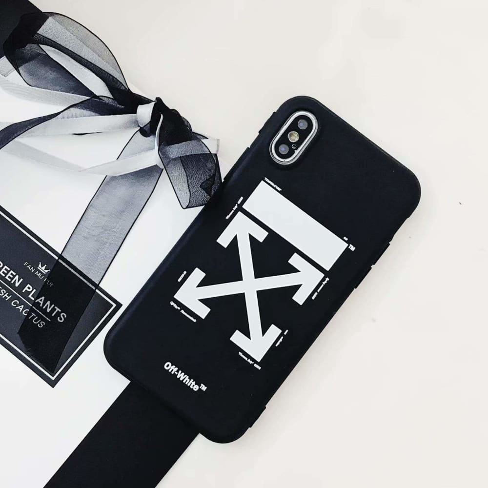 OFF WHITE Style Black Classic Silicone Designer iPhone Case For iPhone X XS XS Max XR 7 8 Plus - AshleySale