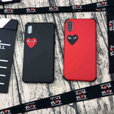 PLAY CDG Comme des Garcons Style Heart Matte Silicone iPhone Case - AshleySale