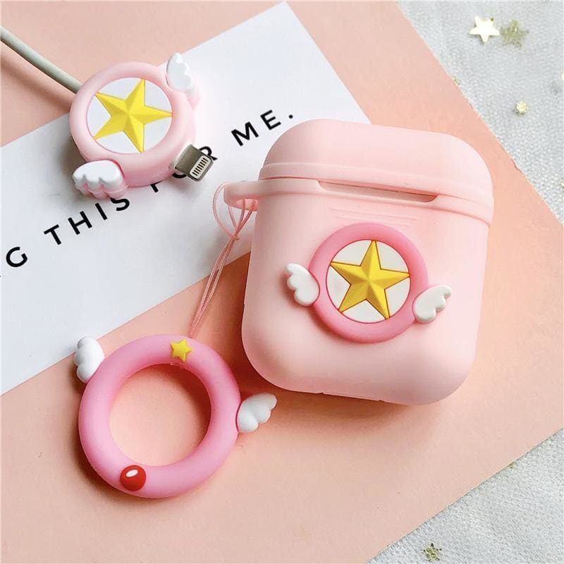 Sailor Moon Pink Star Silicone Protective AirPods 1 & 2 Case - AshleySale