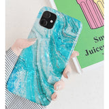 Sea Marble Glossy Silicone Designer iPhone Case For iPhone 11 Pro Max X XS XS Max XR 7 8 Plus - AshleySale