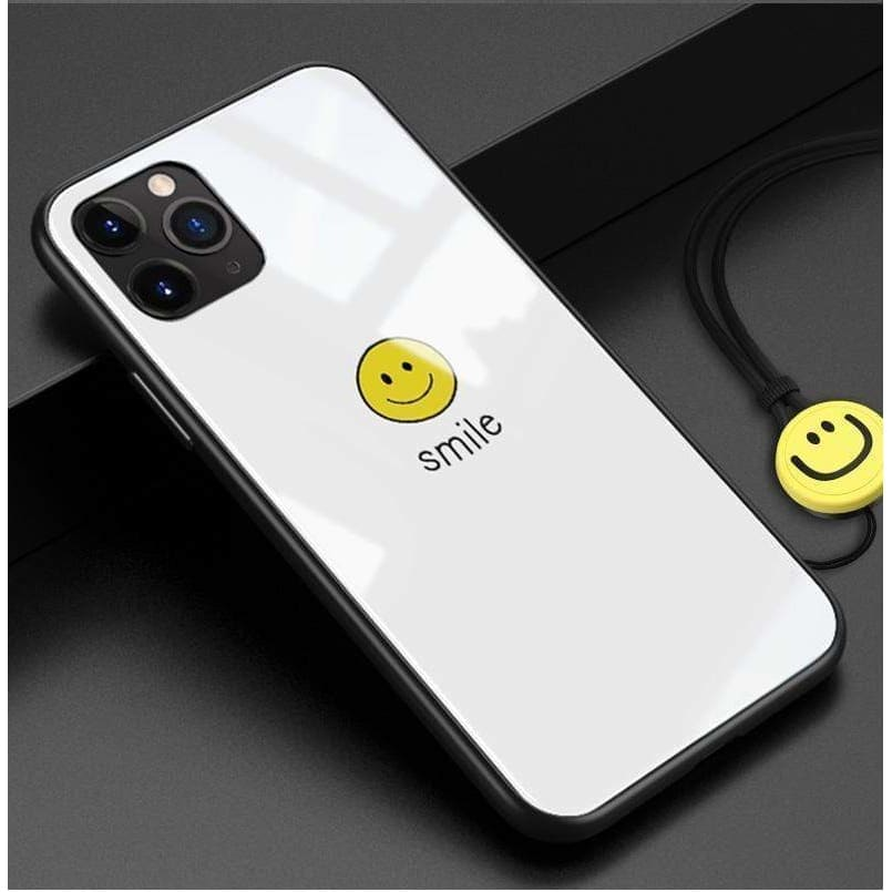 SMILE HAPPY FACE TEMPERED GLASS DESIGNER IPHONE CASE FOR